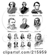 Royalty Free RF Clipart Illustration Of A Digital Collage Of Black And White American President Portraits by BestVector