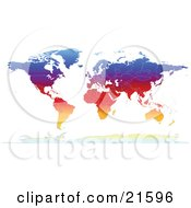 Clipart Illustration Graphic Of A Map Of The Continents Of The Earth With Borders Of The Countries In Colorful Gradient Colors