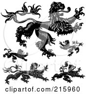 Royalty Free RF Clipart Illustration Of A Digital Collage Of Black And White Gothic Lions by BestVector