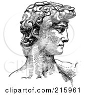 Royalty Free RF Clipart Illustration Of A Black And White Sketch Of Michelangelos David With The Face In Profile