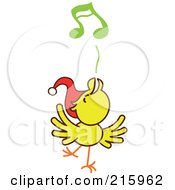 Royalty Free RF Clipart Illustration Of A Yellow Christmas Chicken Wearing A Santa Hat And Singing Carols 3