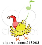 Royalty Free RF Clipart Illustration Of A Yellow Christmas Chicken Wearing A Santa Hat And Singing Carols 1