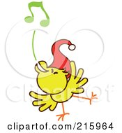 Royalty Free RF Clipart Illustration Of A Yellow Christmas Chicken Wearing A Santa Hat And Singing Carols 5