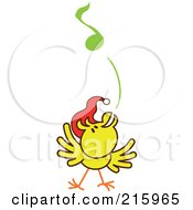 Royalty Free RF Clipart Illustration Of A Yellow Christmas Chicken Wearing A Santa Hat And Singing Carols 4 by Zooco