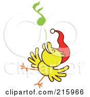 Royalty Free RF Clipart Illustration Of A Yellow Christmas Chicken Wearing A Santa Hat And Singing Carols 6 by Zooco