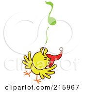 Royalty Free RF Clipart Illustration Of A Yellow Christmas Chicken Wearing A Santa Hat And Singing Carols 2 by Zooco