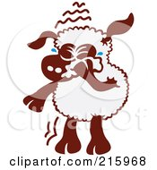 Royalty Free RF Clipart Illustration Of A Sad Cartoon Sheep Wiping Away Tears
