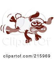 Royalty Free RF Clipart Illustration Of A Cartoon Sheep Angrily Kicking by Zooco