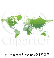 Clipart Illustration Graphic Of A Map Of The Continents Of Planet Earth With Borders Of The Countries In Green Tones