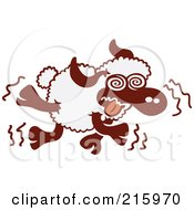 Royalty Free RF Clipart Illustration Of A Cartoon Sheep Running With Crazy Eyes by Zooco