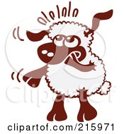 Royalty Free RF Clipart Illustration Of A Nervous Cartoon Sheep Nibbling His Hoof by Zooco