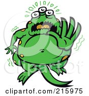 Royalty Free RF Clipart Illustration Of A Frightened Green Monster Holding Out His Hand by Zooco