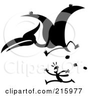 Royalty Free RF Clipart Illustration Of A Silhouetted Pterodactyl Chasing A Man
