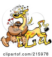 Infatuated Gorilla Hugging A Giraffe