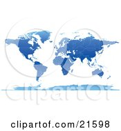 Clipart Illustration Graphic Of A Map Of The Continents And Countries Of The Earth In Blue Tones