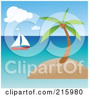 Royalty Free RF Clipart Illustration Of A Sailboat Near A Tropical Island With A Coconut Palm Tree