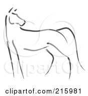 Royalty Free RF Clipart Illustration Of A Simple Black Line Sketch Of A Standing Horse by stephjs #COLLC215981-0162