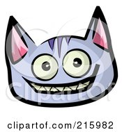 Grinning Purple Cat Face