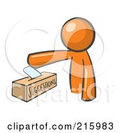 Orange Man Design Mascot Inserting A Suggestion Note Into A Box