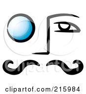 Royalty Free RF Clipart Illustration Of A Mans Face With A Blue Monocle Over His Eye by stephjs