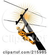 Royalty Free RF Clipart Illustration Of A Lineman On A Pole 7