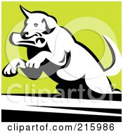 Royalty Free RF Clipart Illustration Of A Dog Fetching A Newspaper And Leaping