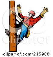 Royalty Free RF Clipart Illustration Of A Lineman On A Pole 15