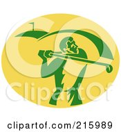 Royalty Free RF Clipart Illustration Of A Retro Golfer Logo