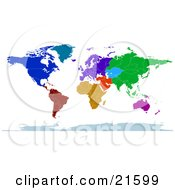 Colorful Map Of The Continents And Countries Of The Earth In Blue Green Red Orange And Purple