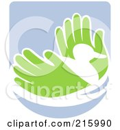 Royalty Free RF Clipart Illustration Of A Pair Of Hands Holding A Duck by patrimonio