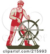 Royalty Free RF Clipart Illustration Of A Retro Captain Steering A Helm