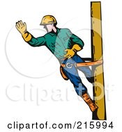 Royalty Free RF Clipart Illustration Of A Lineman On A Pole 13