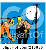 Royalty Free RF Clipart Illustration Of A Team Of Linemen Carrying Lines