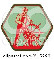 Royalty Free RF Clipart Illustration Of A Retro Captain Steering A Helm On A Green Sign by patrimonio