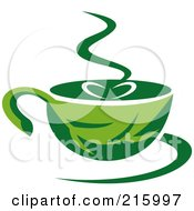 Royalty Free RF Clipart Illustration Of A Green Organic Coffee Cup
