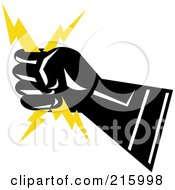 Royalty Free RF Clipart Illustration Of A Lineman Symbol Of A Hand Holding Lightning