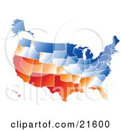 Gradient Red Orange White And Blue United States Of America Map With All States On A White Background