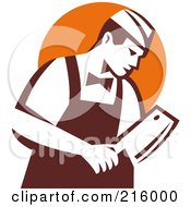 Royalty Free RF Clipart Illustration Of A Retro Butcher Holding A Cleaver Knife