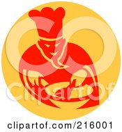 Royalty Free RF Clipart Illustration Of A Retro Chef Cooking In A Wok Logo