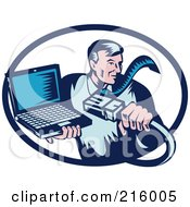 Royalty Free RF Clipart Illustration Of A Retro Styled Computer Repair Guy With A Cable And Laptop