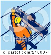 Royalty Free RF Clipart Illustration Of A Lineman On A Pole 8