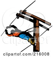 Royalty Free RF Clipart Illustration Of A Lineman On A Pole 16
