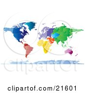 Clipart Illustration Graphic Of A Map Of The Continents And Borders Of The Countries Of The Earth In Colorful Tones