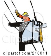 Royalty Free RF Clipart Illustration Of A Retro Lineman Working In A Lift Bucket 2