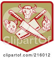 Royalty Free RF Clipart Illustration Of A Retro Butcher Sigh With Knives A Pig Bull And Chicken