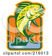 Royalty Free RF Clipart Illustration Of A Leaping Fish And Boat Logo by patrimonio