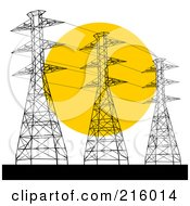 Royalty Free RF Clipart Illustration Of A Trio Of Power Towers Against A Sunset