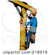 Royalty Free RF Clipart Illustration Of A Lineman On A Pole 14