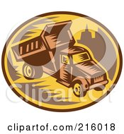 Royalty Free RF Clipart Illustration Of A Retro Woodcut Dump Truck Logo