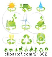 Clipart Illustration Graphic Of A Collection Of Green Energy Icons Of Renewable Energy Solar Power Biofuel Water Factory Wind Turbine Green Home Electricity Recycling And Environment
